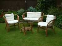 SummerHouse/Conservatory chairs and sofa with cushion pads, and table with tempered glass top
