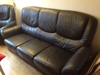 3-piece Suite Sofa and Armchairs, black faux leather