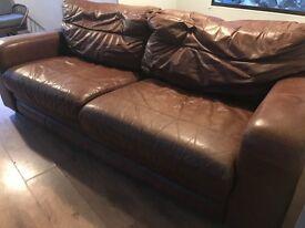 Retro brown leather sofa
