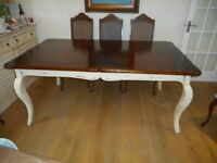 Dining Table. Oak top with cream shabby chic legs
