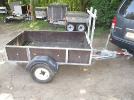 VERY RARE FULLY BRAKED 550KG 5-6 X 3-6 GALV GOODS TRAILER WITH DROPTAIL / LADDER RACK...