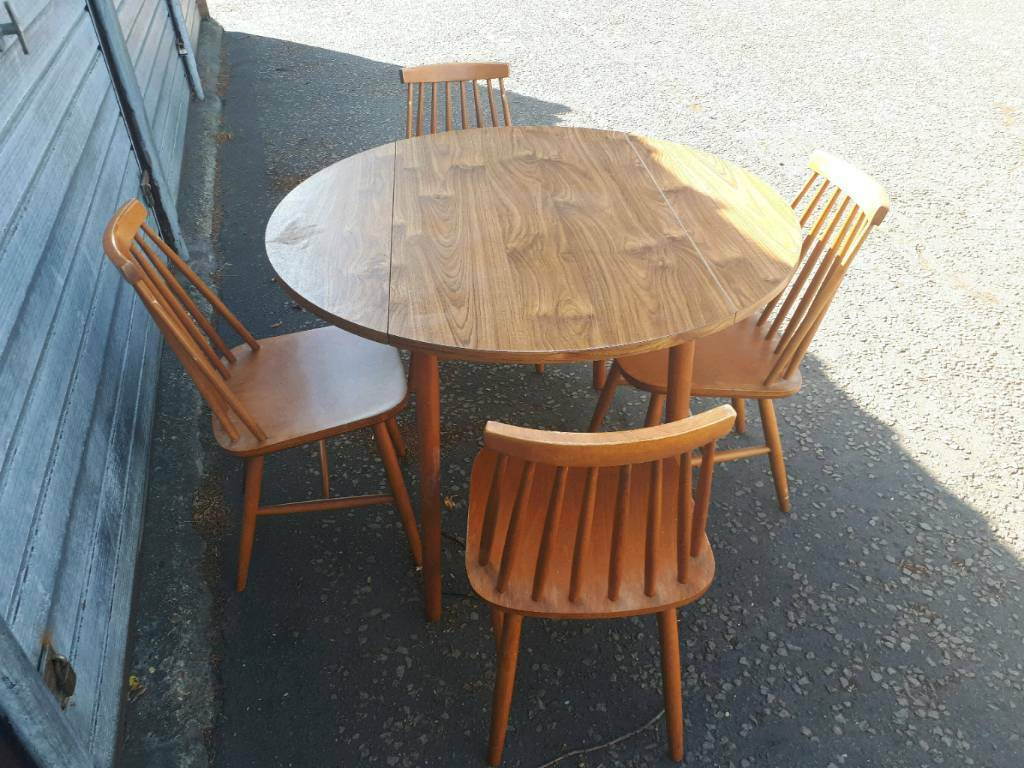 Excellent Round Retro Drop Leaf Table With 4 Ercol Style Dining Chairs Delivery Available In Norwich Norfolk Gumtree Download Free Architecture Designs Licukmadebymaigaardcom