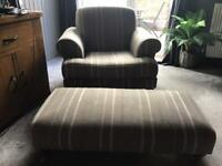 Armchair and matching large footstool