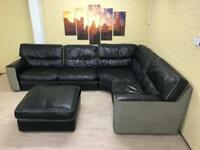 Reversible Leather/Fabric Corner Sofa