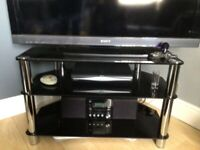 Complete lounge set black glass and chrome