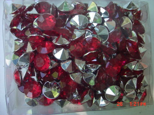"""200 Red Color  Round Crafting Gems 7/16""""  (11.11mm)"""