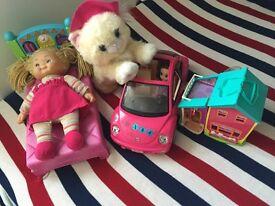 Girls toy bundle, dresses, roller skates