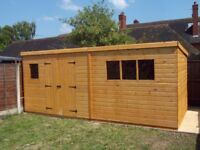 20 x 8FT LARGE PENT GARDEN SHED HEAVY DUTY SHIP LAP TIMBER DOUBLE DOORS FULLY ASSEMBLED BRAND NEW