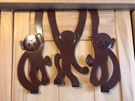 Set of 3 cute monkey over the door hooks for coats/clothes