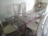 Glass dining table 6-8 seats