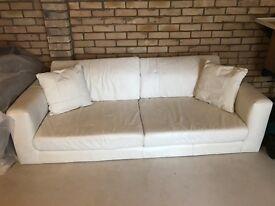 BARGAIN, REDUCED - Large cream leather sofa