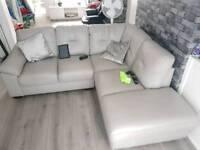 Light grey leather corner sofa