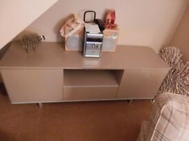 TV unit in high gloss finish, mocha colour - as new