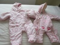 Excellent Condition - 2 Baby Snowsuits - Girls