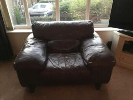 Italian leather 2 large armchairs and sofa