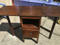 Sweet Little Vintage Wooden End / Side Table Drop Leaf Night Stand with Drawer