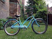 Electric Blue Ladies Beach Cruiser Bike Bicycle