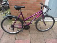 ladies mountain bike with lock and lights £49.00