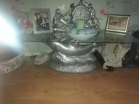 Large dolphin glass table