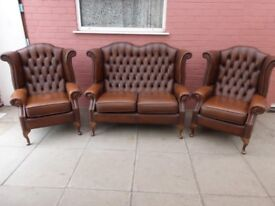 A Tanny Brown Leather Chesterfield Three Piece Suite