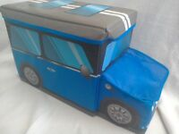Children's bedroom storage boxes novelty mini car design. Soft fabric covered toy storage box.