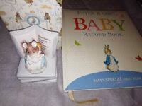 Beatrix potter ornament and Peter rabbit baby record book, lovely baby gifts