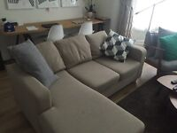3 seater 'L' shaped beige sofa