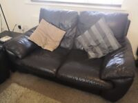 Good quality brown leather sofa suite