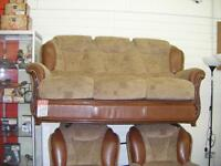 Brown fabric/leather 3+1+1 suite