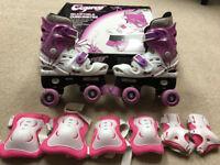 Kids Childs Girls Quad Roller Skates & Pads (adj size 13 - 3) - Brockley, London SE4