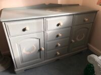 Shabby Chic Solid Wooden Sideboard with Two Cupboards and Six Drawers in Annie Sloan Duck Egg Blue