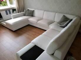 """Large white """"U"""" shaped sofa. **Now available**"""