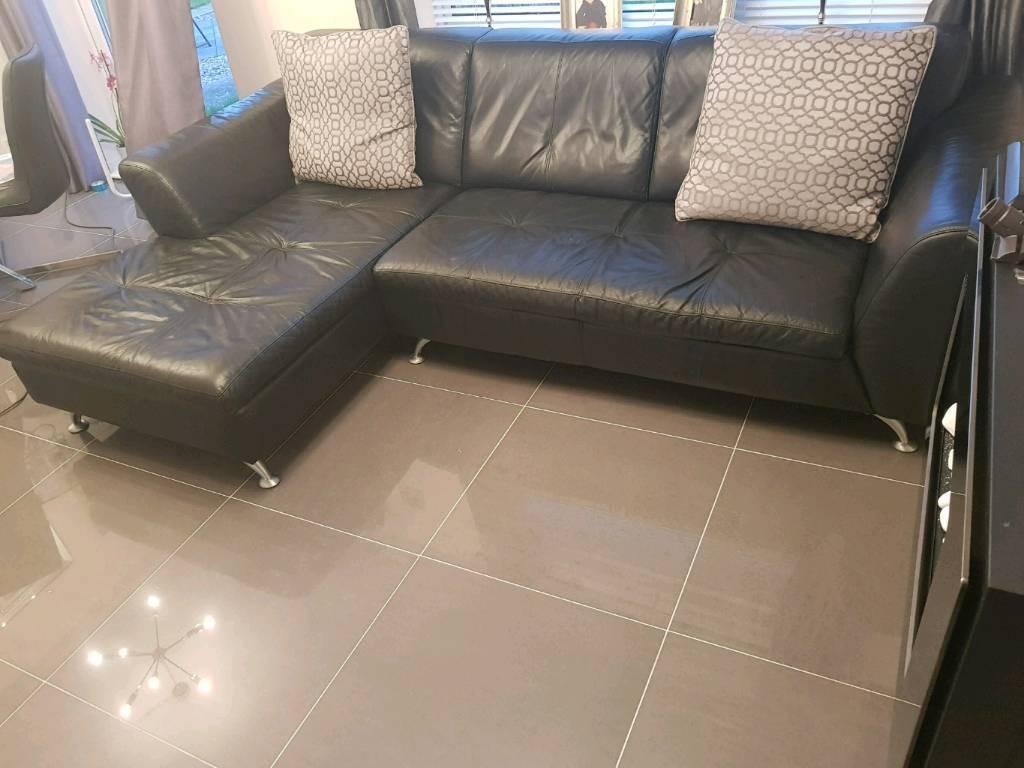 Modern contemporary black leather l shaped sofa durham