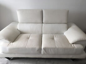 Two Seat White Faux Leather Sofa with moveable headrest