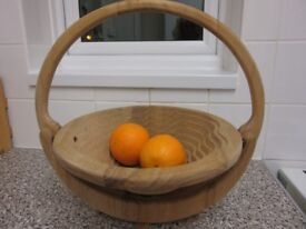 FOLDING FRUIT (OR OTHER) BASKET CUT FROM A SINGLE PIECE OF WOOD