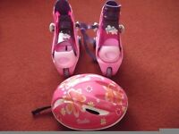 BARBIE ADJUSTABLE INLINE ROLLER BOOTS +STABILIZERS AND CYCLE HELMET