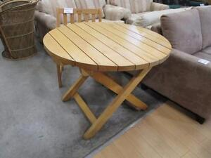 Solid Cedar Round Top Patio Folding Table