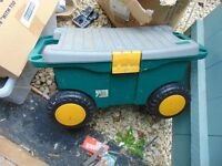 garden seat/toolbox on wheels..aberbargoed