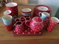 Red polka dot dinnerware