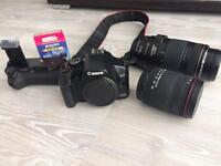 Canon camera with two lenses and accessories