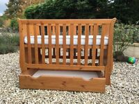 John Lewis Sleigh Cot/ Cotbed in Pine. Includes sliding floor drawer.