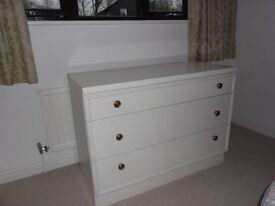 White Bedroom Chest of 3 drawers.