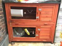 4ft two storey rabbit hutch + waterproof cover