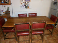 Solid Oak Dining Table + 6 Oak & Leather Chairs