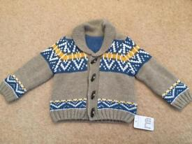 Brand new with tag mothercare knitted jumper / cardigan 12-18months