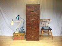 Vintage Mid Century wooden filing cabinet