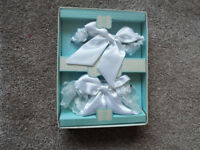 Mindy Weiss White wedding garters x 2 - brand new in box - one to keep one to toss !! See back box