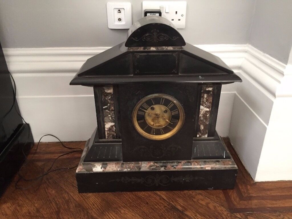 Victorian Extra Large Slate Mantle Clock