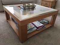 M&S Solid oak coffee table with glass top