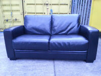 Black Leather 2 Seater Couch Sofa - DELIVERY AVAILABLE
